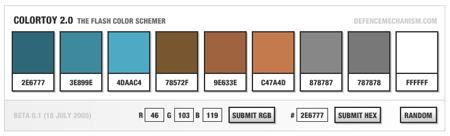 color toy v2 - generator nahodnych tem, flash color scheme generator